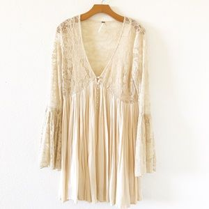 Free people beige floral mesh long sleeve dress